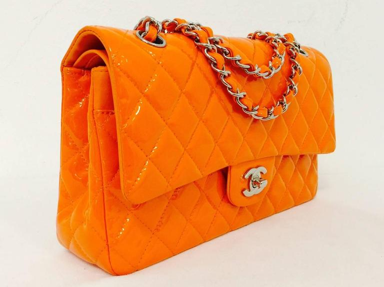 Chanel Orange Diamond Quilted Patent Leather 2.55 Double Flap Bag Medium 2