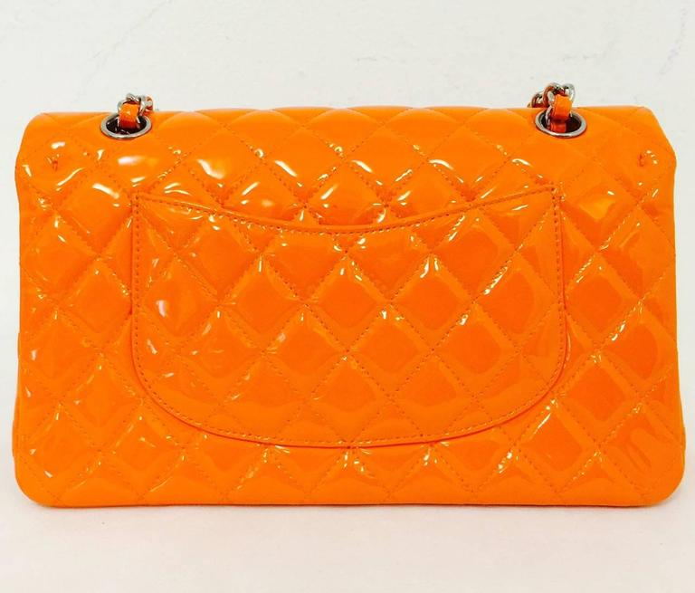 Chanel Orange Diamond Quilted Patent Leather 2.55 Double Flap Bag Medium 3