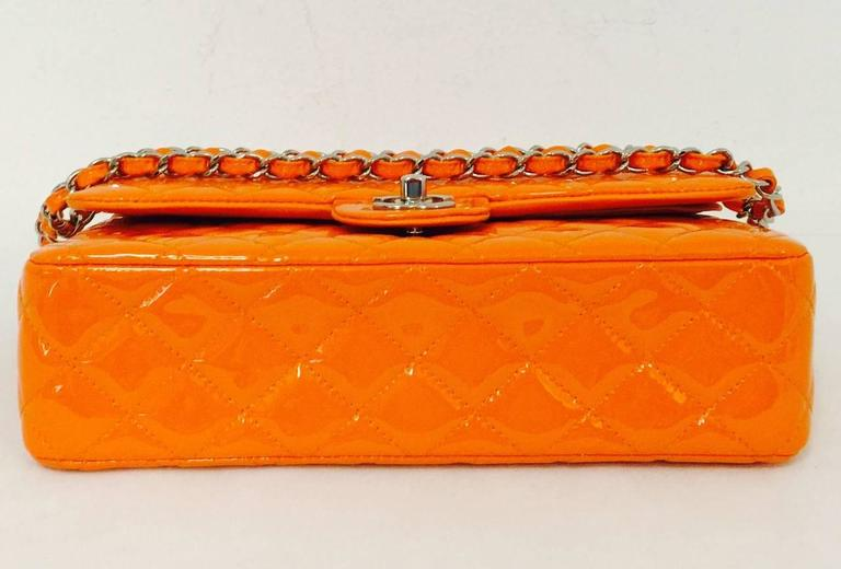 Chanel Orange Diamond Quilted Patent Leather 2.55 Double Flap Bag Medium 5