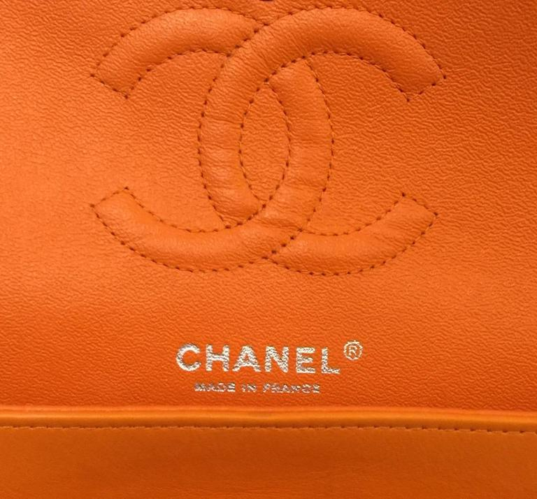 Chanel Orange Diamond Quilted Patent Leather 2.55 Double Flap Bag Medium 8