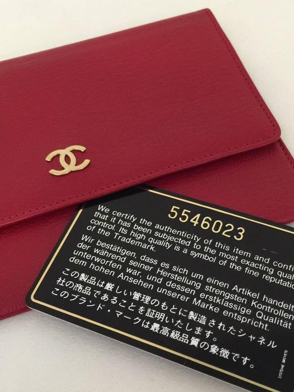 Chanel Deep Red Leather Pochette With Gold Tone Hardware Serial No 5546023 4