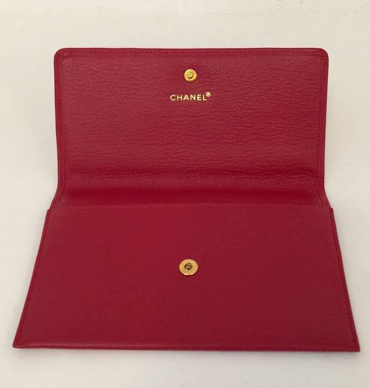 Chanel Deep Red Leather Pochette With Gold Tone Hardware Serial No 5546023 2