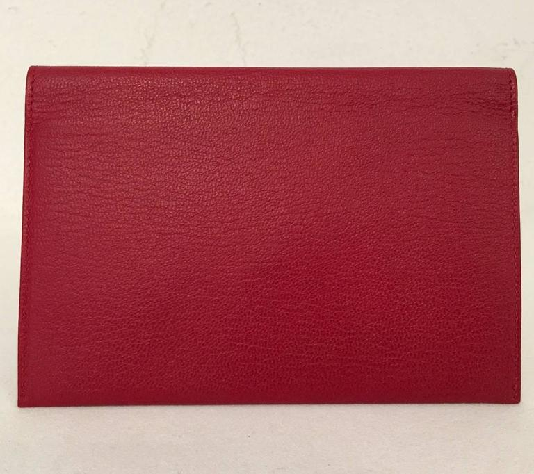 Chanel Deep Red Leather Pochette With Gold Tone Hardware Serial No 5546023 3