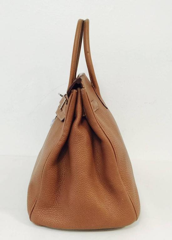 Brown 2009 Hermes Birkin 35 Gold Clemence Leather With Palladium Hardware  For Sale 246604b8c57da