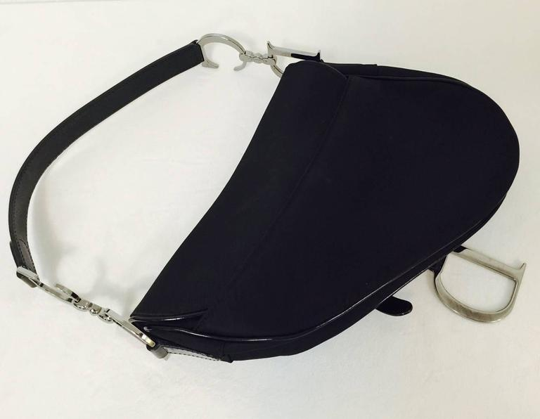 74521bcc8f8a Christian Dior Black Patent and Nylon Saddle Bag In Excellent Condition For Sale  In Palm Beach