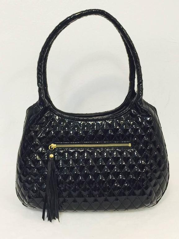 Eric Javits Black Patent Diamond Quilted Shoulder Bag With