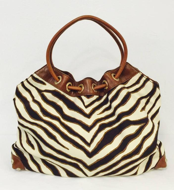 970bb82af201 MICHAEL Michael Kors Zebra Print Canvas Hobo With Toffee Leather Trim In Excellent  Condition For Sale