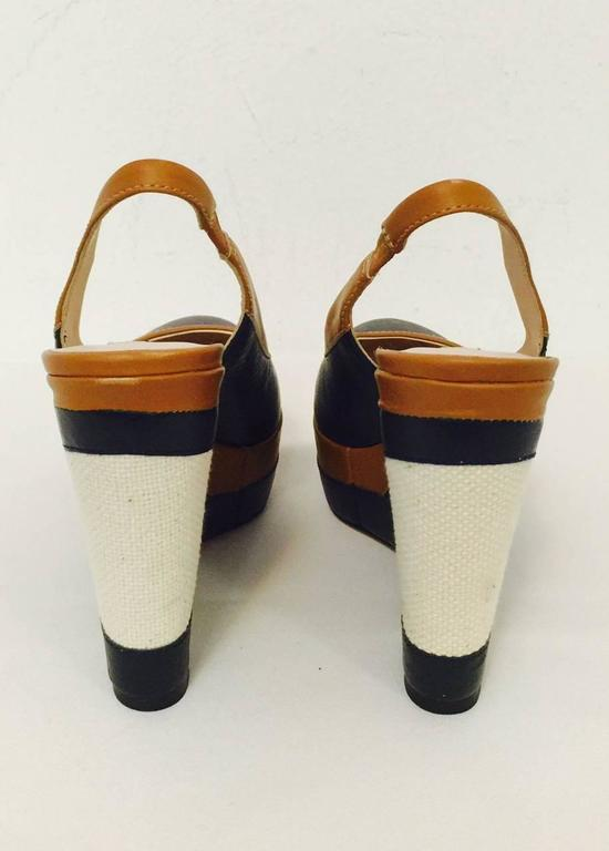 Women's Elegant Escada Navy and Toffee Leather Wedge Slingbacks With Burlap Detail  For Sale