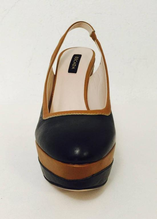 Black Elegant Escada Navy and Toffee Leather Wedge Slingbacks With Burlap Detail  For Sale