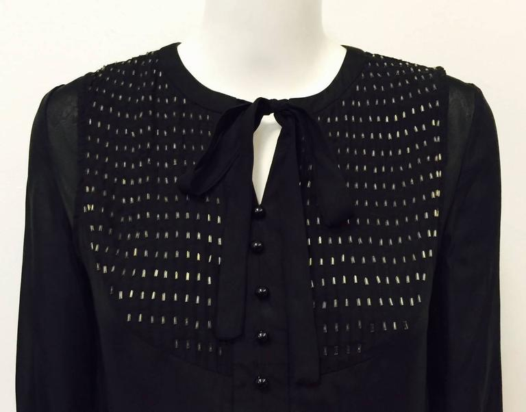 Chloe Black Silk Blouse With Bugle Beaded Bib and Tie  For Sale 1