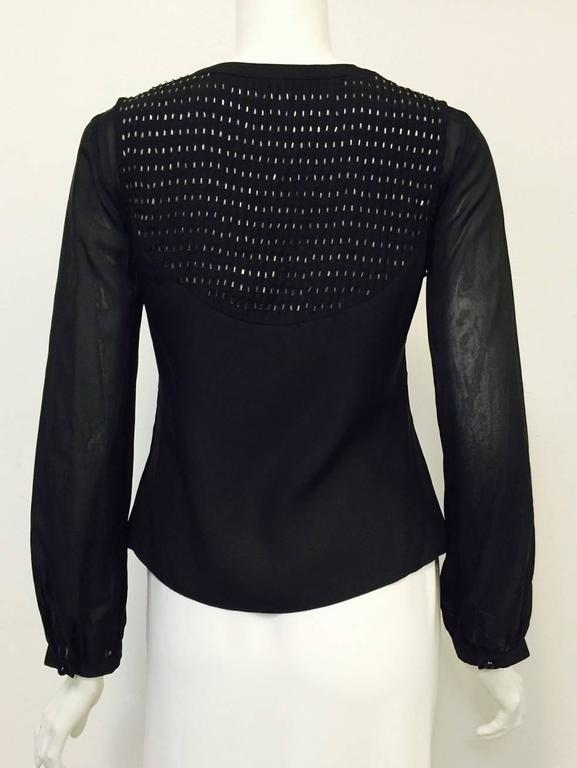 Chloe Black Silk Blouse With Bugle Beaded Bib and Tie  In Excellent Condition For Sale In Palm Beach, FL