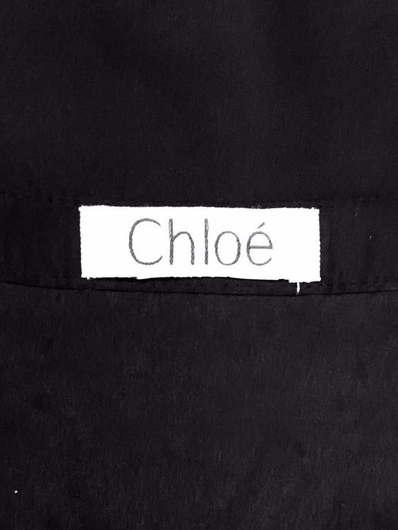 Chloe Black Silk Blouse With Bugle Beaded Bib and Tie  For Sale 2