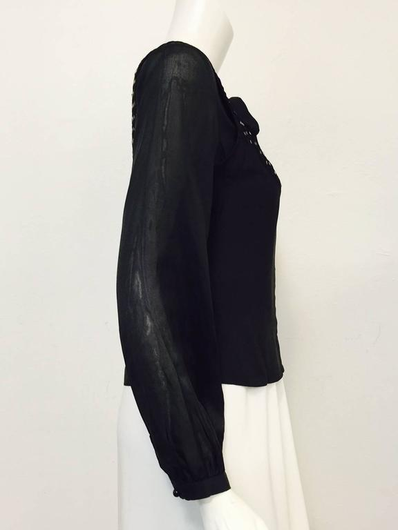 Women's Chloe Black Silk Blouse With Bugle Beaded Bib and Tie  For Sale
