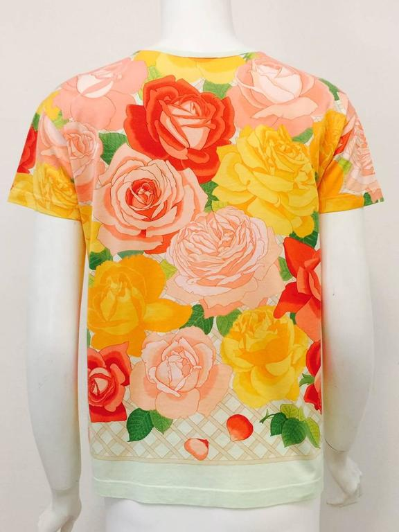 Beige Hermes 100% Cotton Top With Regal Roses in Full Bloom Print For Sale