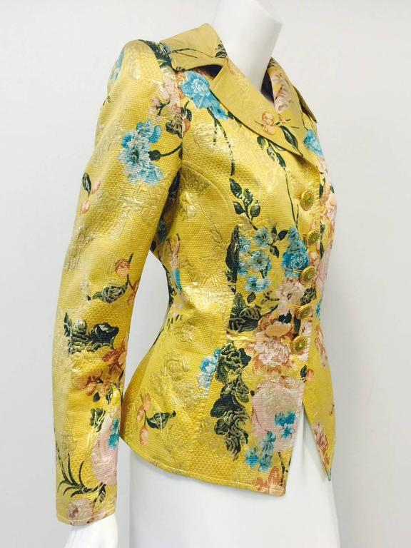 Christian Lacroix Gold Brocade Floral Print Fitted Jacket