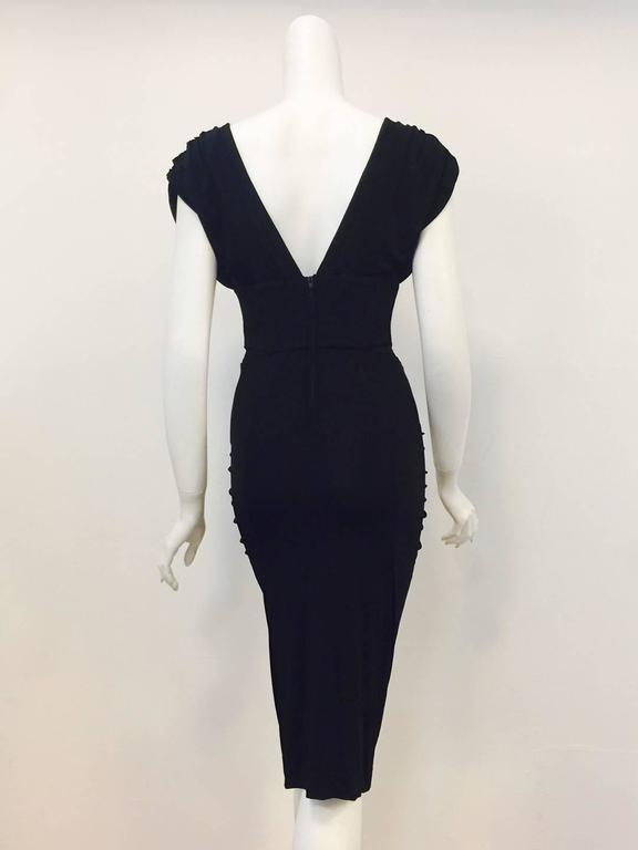 Just Cavalli Black Viscose Sheath Dress With Ruched Shoulders And Side Panels In Excellent Condition For
