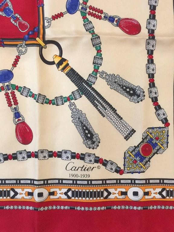 Cartier Red and Ivory Jeweled Silk Twill Carre Above Excellent Condition  In Excellent Condition For Sale In Palm Beach, FL