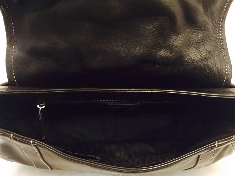Christian Dior Chocolate Leather Flap Shoulder Bag With Silver Tone Hardware  8