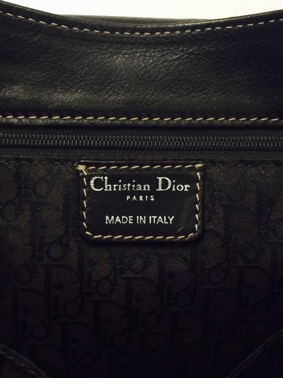 Christian Dior Chocolate Leather Flap Shoulder Bag With Silver Tone Hardware  7