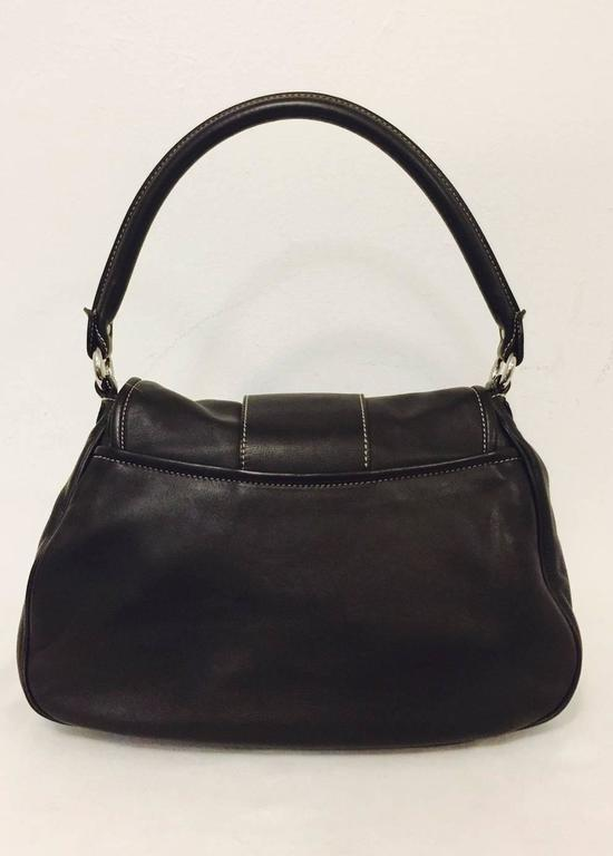 Christian Dior Chocolate Leather Flap Shoulder Bag With Silver Tone Hardware  3