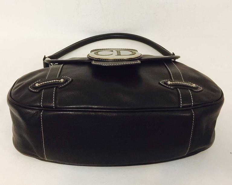 Christian Dior Chocolate Leather Flap Shoulder Bag With Silver Tone Hardware  6