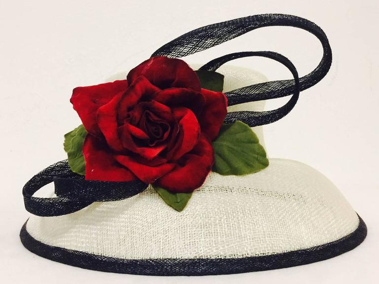 Herald & Heart Hatters Ivory and Back Parasisal Hat With Rapturous Red Rose  2