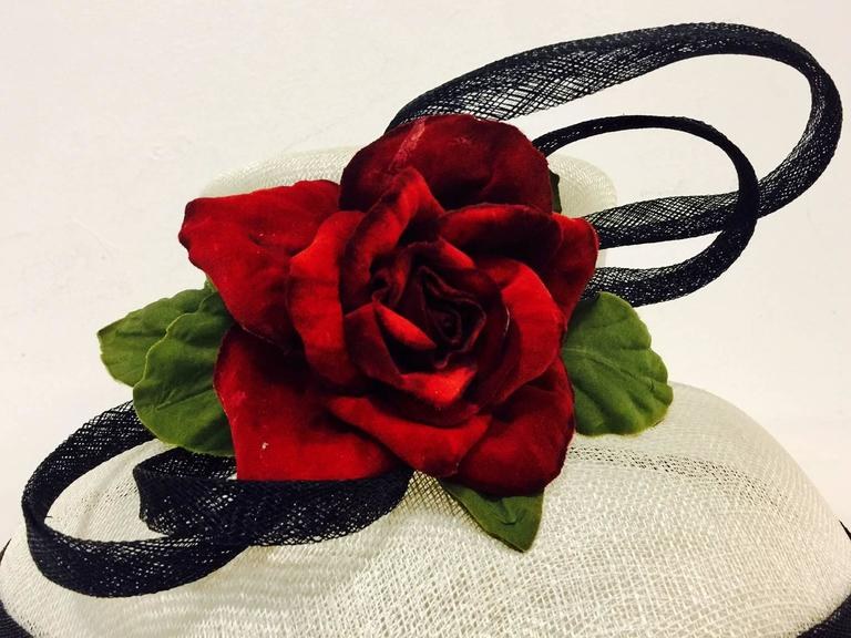 Herald & Heart Hatters Ivory and Back Parasisal Hat With Rapturous Red Rose  6