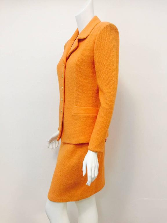 Women's St. John Collection Orange Wool Blend Knit Skirt Suit With Enamel Buttons  For Sale