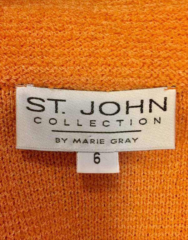 St. John Collection Orange Wool Blend Knit Skirt Suit With Enamel Buttons  For Sale 2