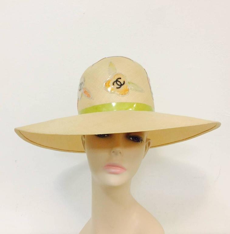 Rare Chanel Wide Brim Camellia Hat 2