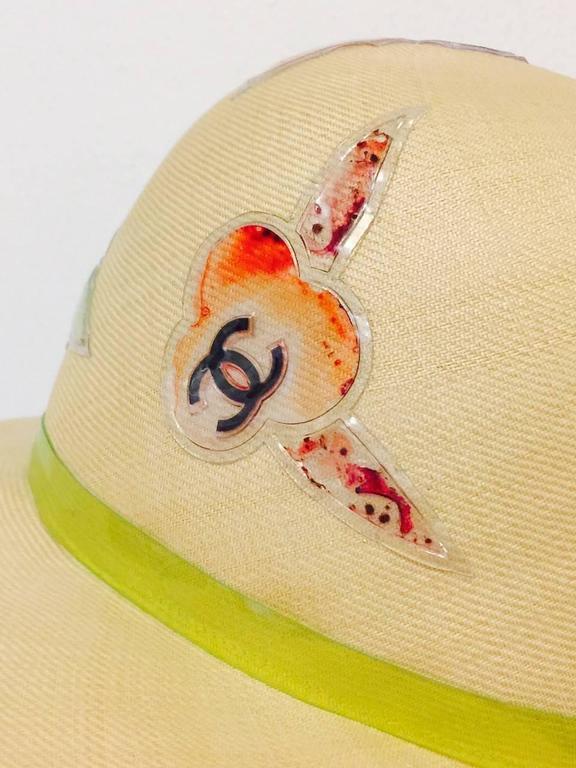 Rare Chanel Wide Brim Camellia Hat 5