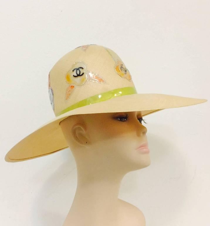 Rare Chanel Wide Brim Camellia Hat 4