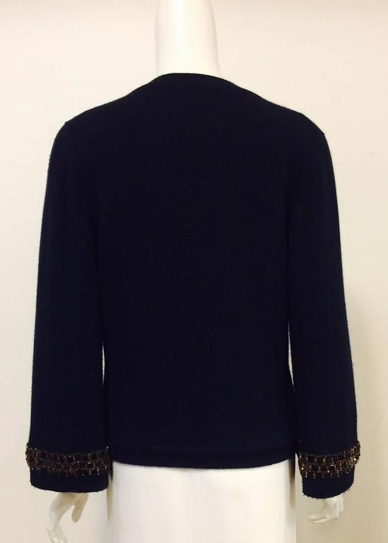 Black Chanel Navy Cashmere Cardigan W. Multi Color Gripoix Buttons & Chiclet Trim  For Sale
