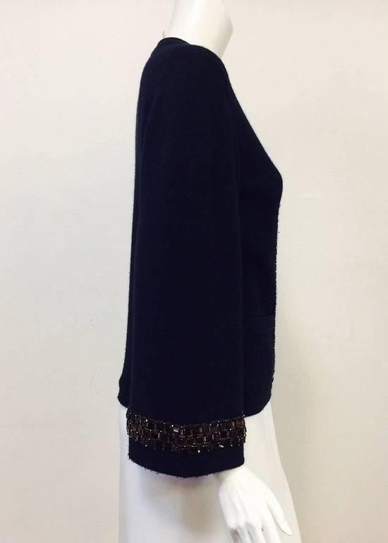 Women's Chanel Navy Cashmere Cardigan W. Multi Color Gripoix Buttons & Chiclet Trim  For Sale