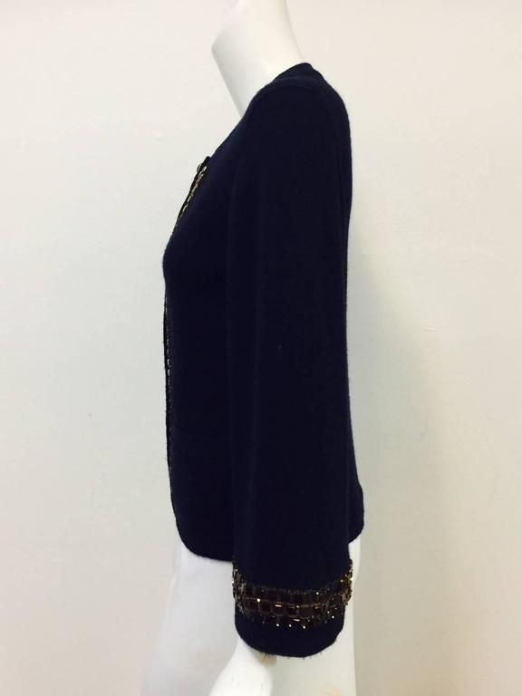 Chanel Navy Cashmere Cardigan W. Multi Color Gripoix Buttons & Chiclet Trim  In Excellent Condition For Sale In Palm Beach, FL