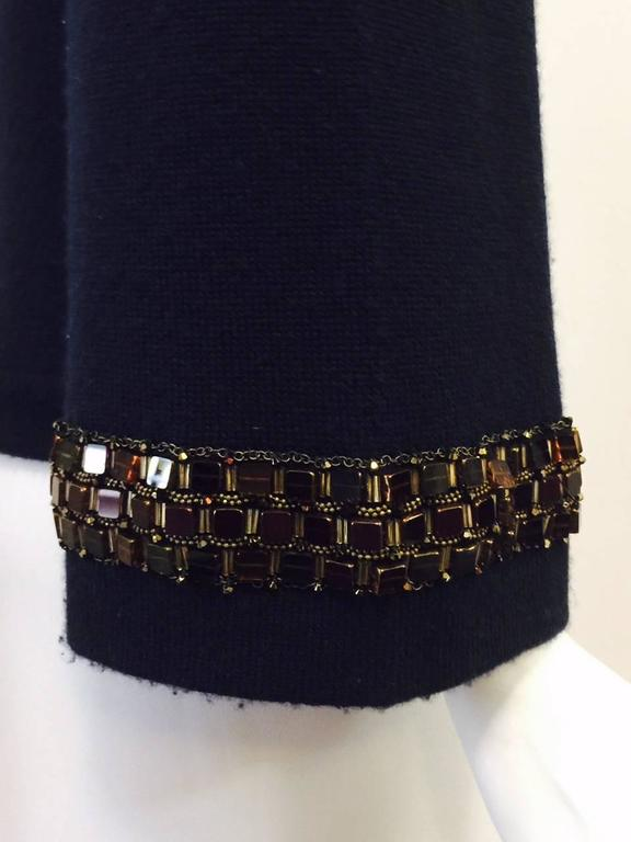 Chanel Navy Cashmere Cardigan W. Multi Color Gripoix Buttons & Chiclet Trim  For Sale 2