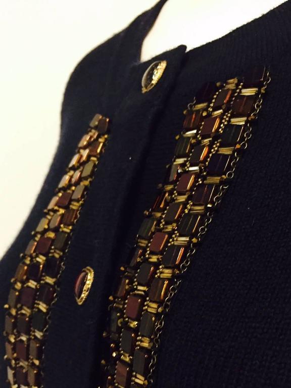 Chanel Navy Cashmere Cardigan W. Multi Color Gripoix Buttons & Chiclet Trim  For Sale 1