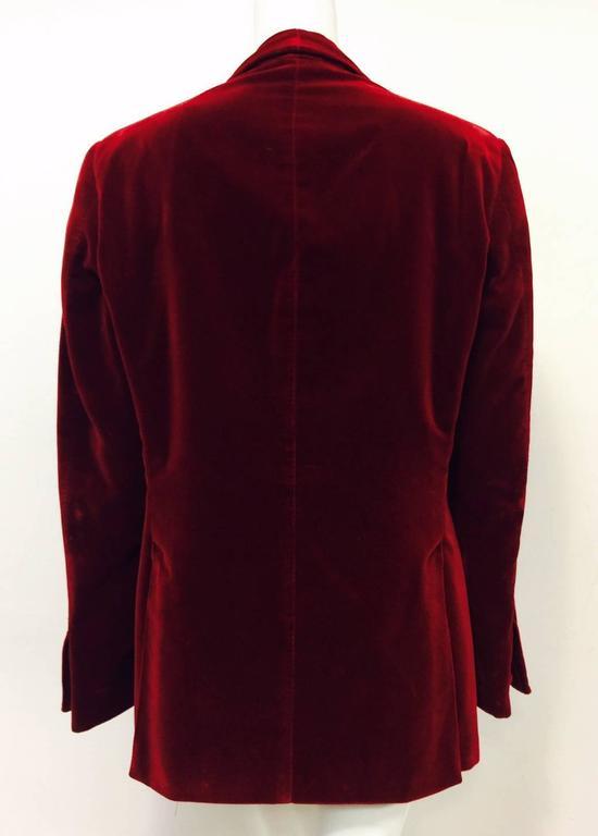 Black Iconic 2004 Fall Tom Ford For Gucci Burgundy Velvet Men's Smoking Jacket  For Sale