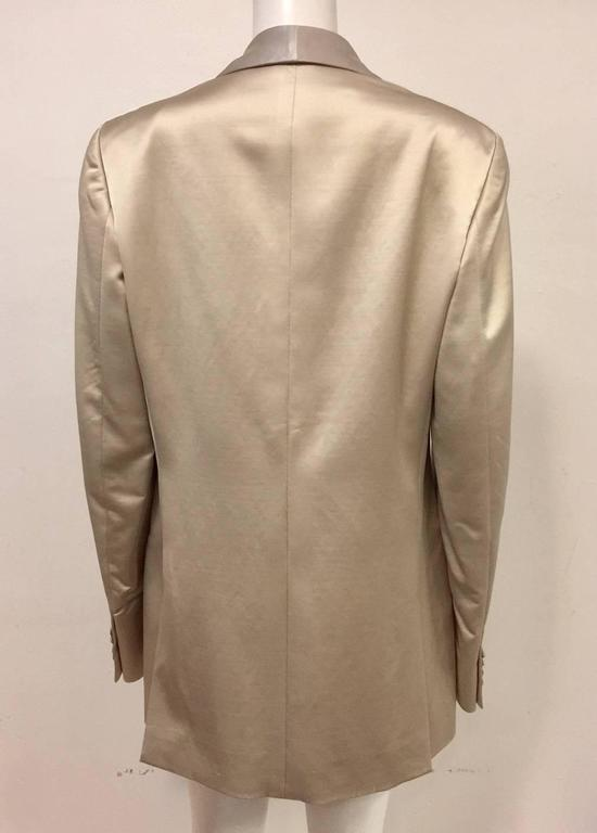 Brown Men's Versace Champagne Cotton Wool & Silk Blend Dinner Jacket w Shawl Collar  For Sale