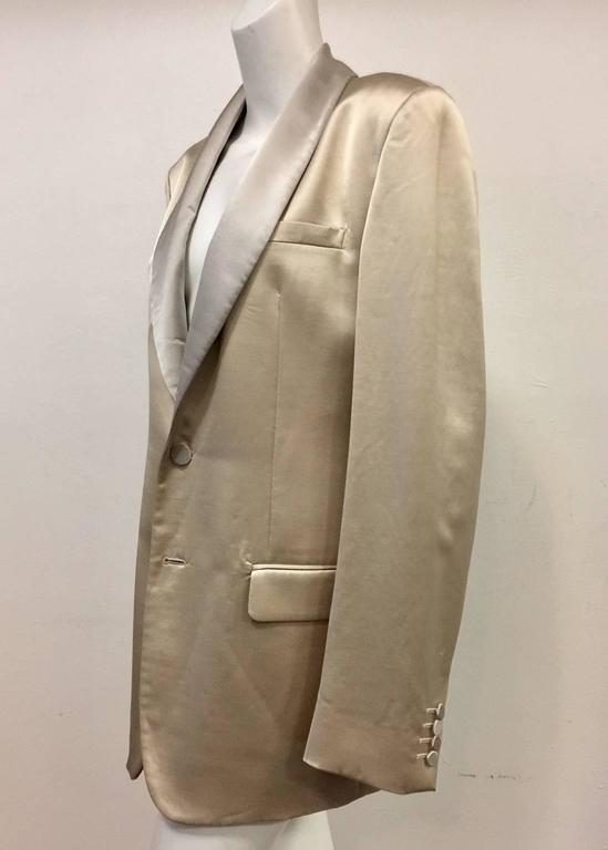 Men's Versace Champagne Cotton Wool & Silk Blend Dinner Jacket w Shawl Collar  In Excellent Condition For Sale In Palm Beach, FL