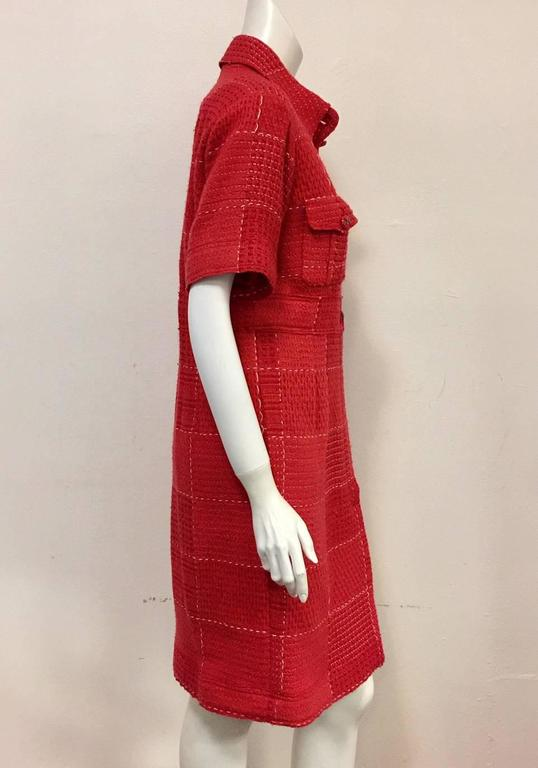 Chanel Strawberry Red Wool Tweed Short Sleeve Shirt Dress With Pockets  2