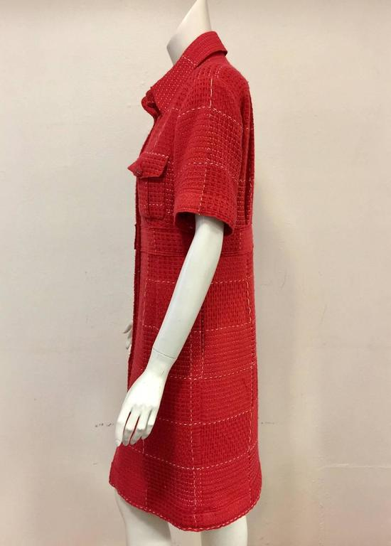 Chanel Strawberry Red Wool Tweed Short Sleeve Shirt Dress With Pockets  4