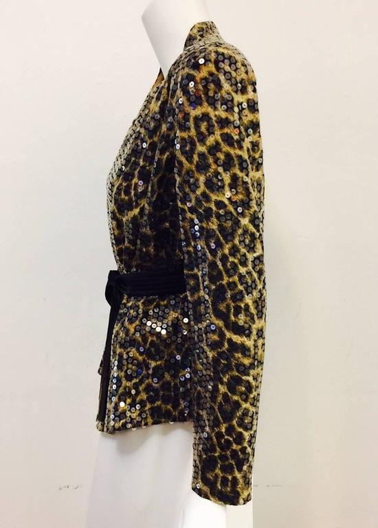Ognibene Zendman Leopard Print Silk Belted Jacket With Clear Sequins Allover In Excellent Condition For Sale In Palm Beach, FL