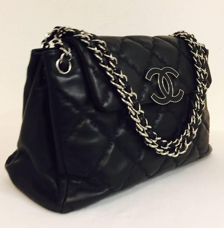 5fdfe120a5a82 Chanel Black Diamond Quilted Hampton CC Accordion Flap Bag