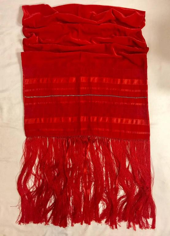 Escada Rapturous Red Velvet Silk and Lace Fringed Wrap With Clear Crystals 2