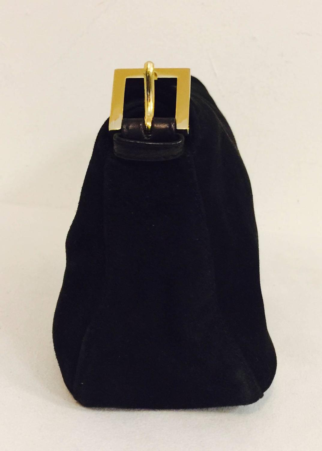 Iconic Fendi Black Suede Baguette Bag With Gold Tone Zucchino Logo Closure  at 1stdibs 2f020fcc1e376