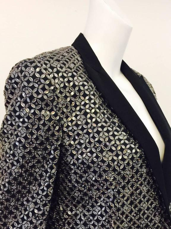 D&G Embroidered Black Silk Blend Rhinestone Dinner Jacket  For Sale 1