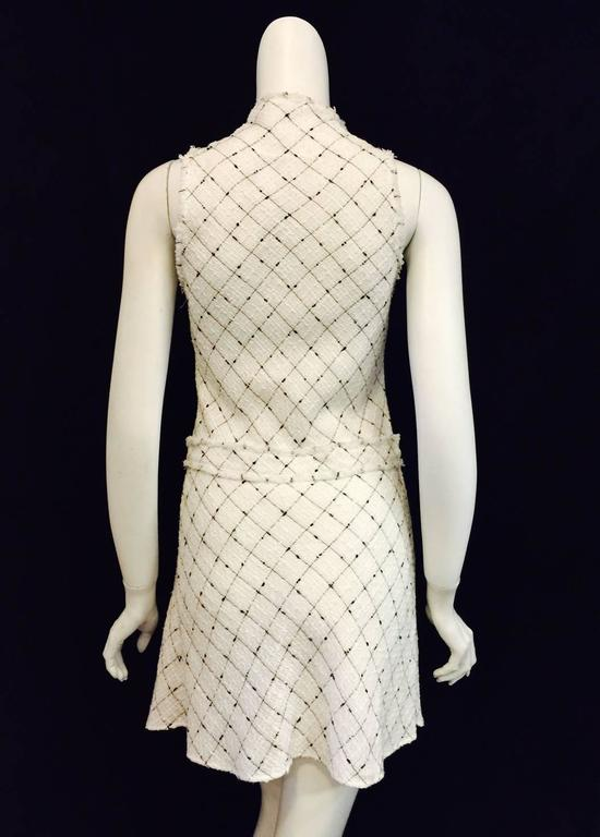 Chanel Spring White Cotton Tweed Sleeveless Dress W Black