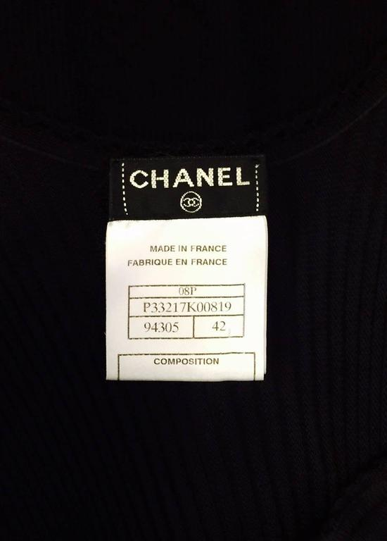 Chanel Black Viscose Stretch Dress With Surplice Front and Full Longer Skirt  9