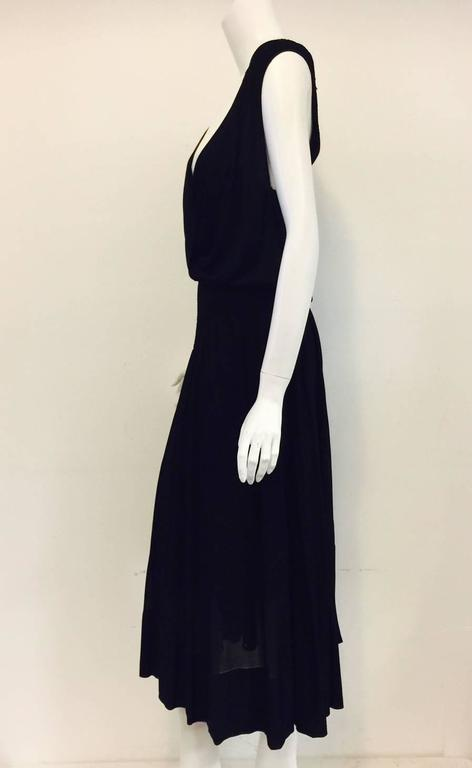 Chanel Black Viscose Stretch Dress With Surplice Front and Full Longer Skirt  4